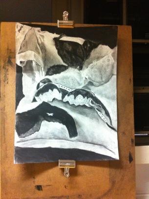Still life, charcoal, 2014.