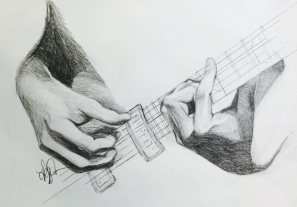 Colton playing, graphite, 2016.