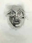 Crazy faces quick sketch 1, charcoal, 2016.