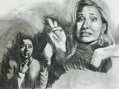 Double Self Portrait (Wheres Your Homework, Procrastinator?), charcoal, 2016.