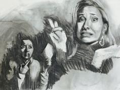 Double Self Portrait (Wheres Your Homework, Procrastinator?), charcoal, 2016.