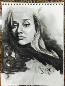 self portrait, charcoal, 2016.