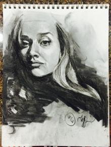 self portrait, charcoal, 2016.