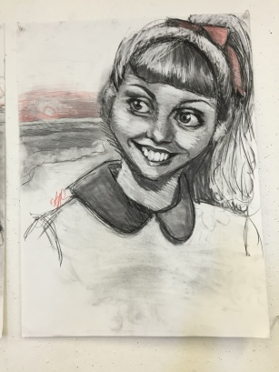 Sandy (Grease) Caricature, charcoal and colored pencil, 2016.